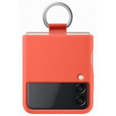 Samsung silikonový kryt EF-PF711TPE s držákem na prst pro Galaxy F Flip 3, oranžová