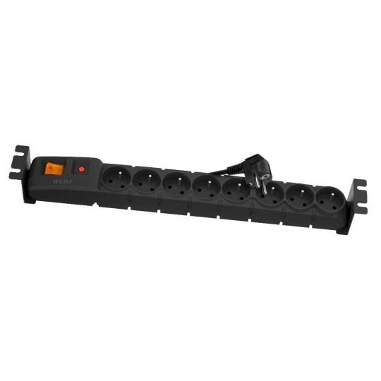 """19"""" rozvodný panel ACAR 8x230V, ČSN, kabel 3m, přepěťová ochrana, vč.montážních držáků do racku"""