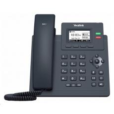 "Yealink SIP-T31P IP telefon, 2,3"" 132x64 grafický, 2x RJ45 10/100, PoE, 2x SIP, s adaptérem"
