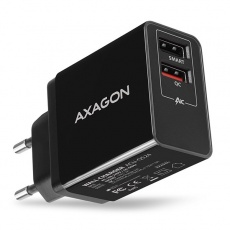 AXAGON ACU-QS24, QUICK a SMART nabíječka do sítě, 2x USB port QC3.0/AFC/FCP + 5V-1.2A, 24W