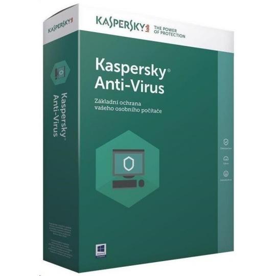Kaspersky Anti-Virus CZ, 1PC, 2 roky, obnovení licence, elektronicky
