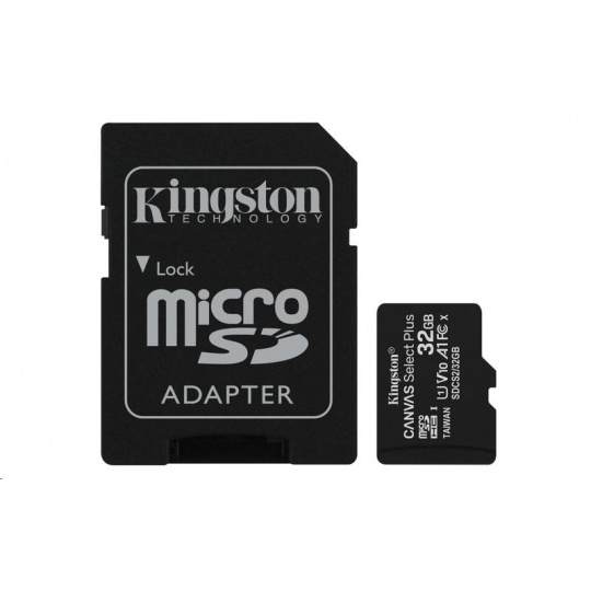 Kingston 32GB micSDHC Canvas Select Plus 100R A1 C10 Card + SD adaptér