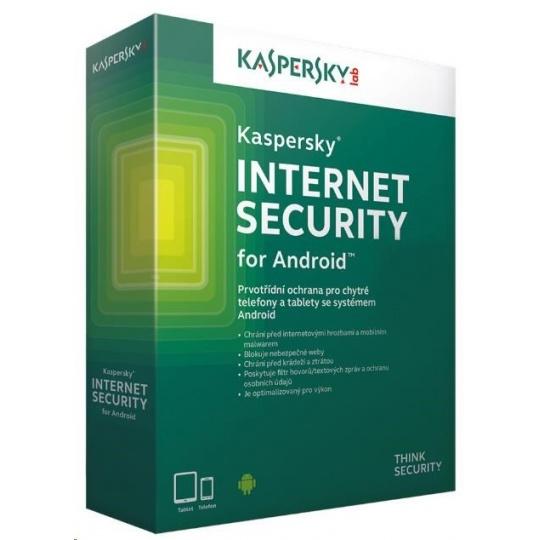 Kaspersky Internet Security ANDROID, 3 zařízení, 1 rok, nová licence, elektronicky
