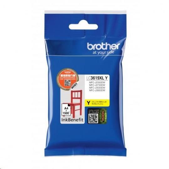 BROTHER INK LC-3619XLY žlutý, yellow - 1300stran, J2330, J3530, J3930