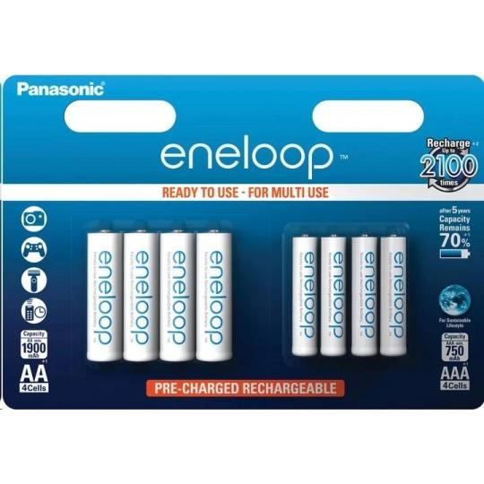 PANASONIC eneloop Nabíjecí Baterie AA 1900mAh + AAA 750mAh 1,2V  HR-3UTGB-4UTGB-8BP (Blistr 4+4ks)