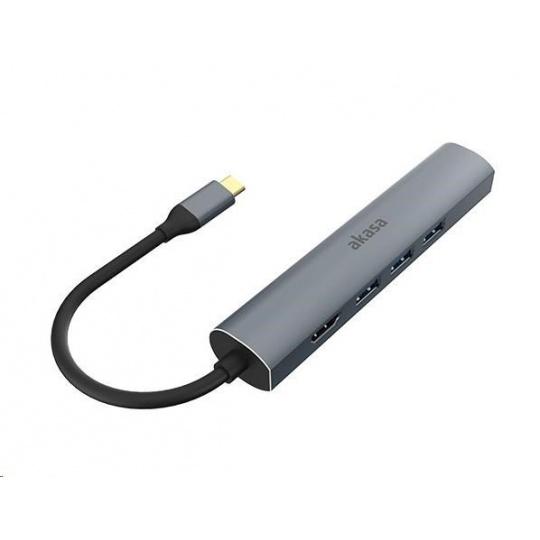 AKASA adaptér 5v1 USB Type-C na HDMI 4K@30Hz, RJ45 a USB-A