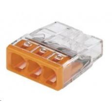 CONRAD Svorka Wago, 2273-203, 0,5 - 2,5 mm2, 3pólová, transparentní/oranžová, 10 kusů