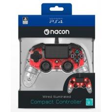 Nacon Wired Compact Controller - ovladač pro PlayStation 4 - průhledný červený