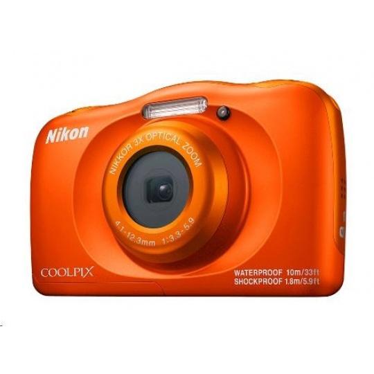 NIKON kompakt Coolpix W150, 13MPix, 3x zoom - oranžový - Backpack kit