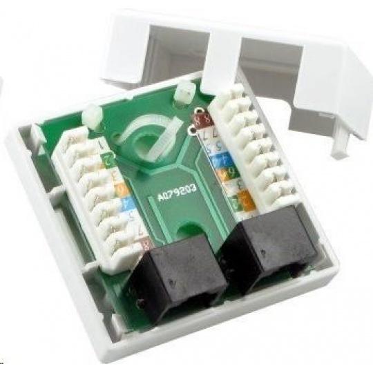 Zásuvka UTP 2x RJ45 Cat5E, duální svorkovnice, na omítku