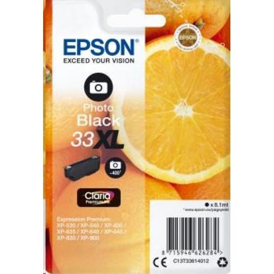 "EPSON ink čer Singlepack ""Pomeranč"" Photo Black 33XL Claria Premium Ink"