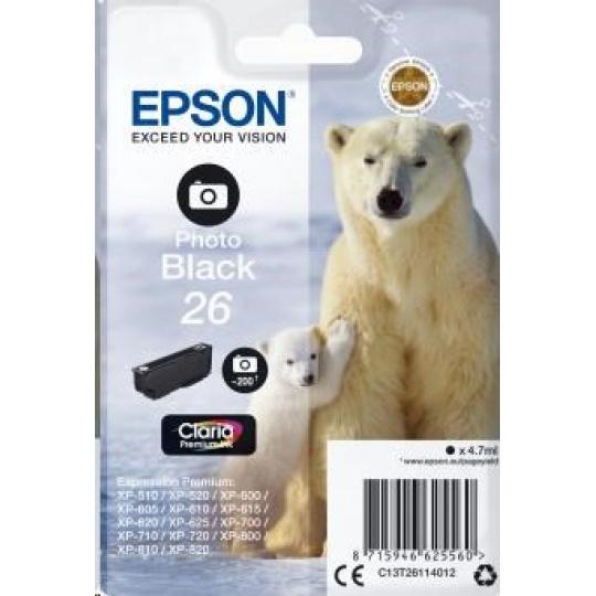 "EPSON ink čer Singlepack ""Lední medvěd"" Photo Black 26 Claria Premium Ink"