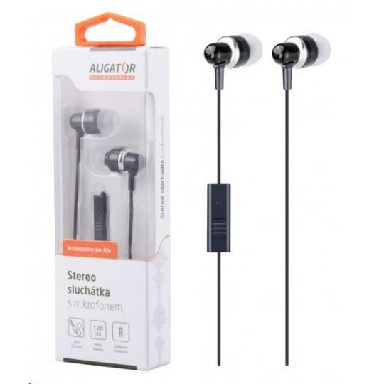 Aligator stereo sluchátka AE01 s mikrofonem, 3,5 mm jack, černá