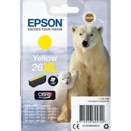 "EPSON ink bar Singlepack ""Lední medvěd"" Yellow 26XL Claria Premium Ink"
