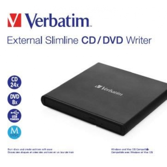 VERBATIM externí mechanika Slimline CD/DVD Writer USB - without NERO